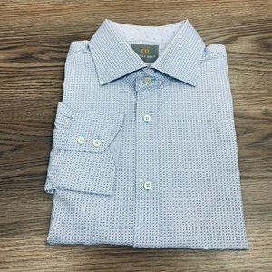 Thomas Dean Blue w/ White & Navy Check Shirt XL